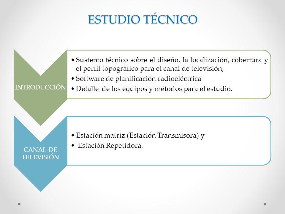 ESTUDIO TÉCNICO INTRODUCCIÓN Sustento técnico sobre el diseño, la localización, cobertura y el perfil topográfico para el canal de televisión, Software de planificación radioeléctrica Detalle de los equipos y métodos para el estudio.