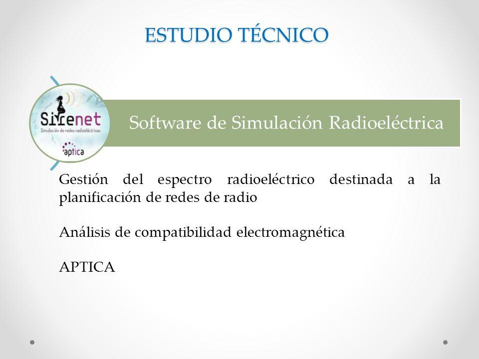 Software de Simulación Radioeléctrica ESTUDIO TÉCNICO Gestión del espectro radioeléctrico destinada a la planificación de redes de radio Análisis de compatibilidad electromagnética APTICA