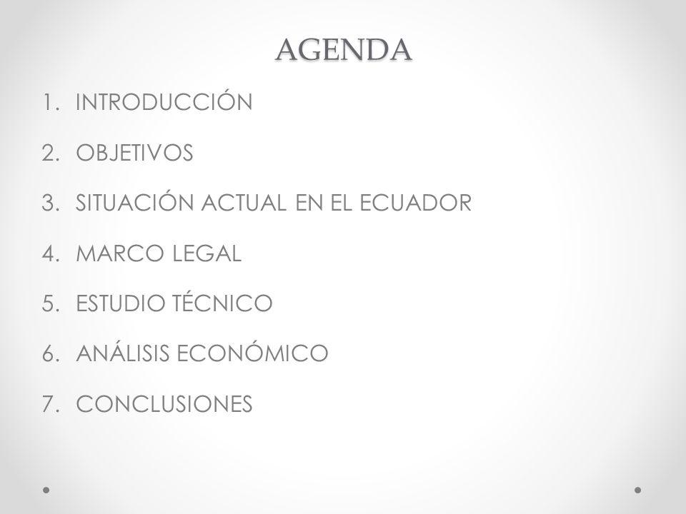 AGENDA 1.INTRODUCCIÓN 2.OBJETIVOS 3.SITUACIÓN ACTUAL EN EL ECUADOR 4.MARCO LEGAL 5.ESTUDIO TÉCNICO 6.ANÁLISIS ECONÓMICO 7.CONCLUSIONES