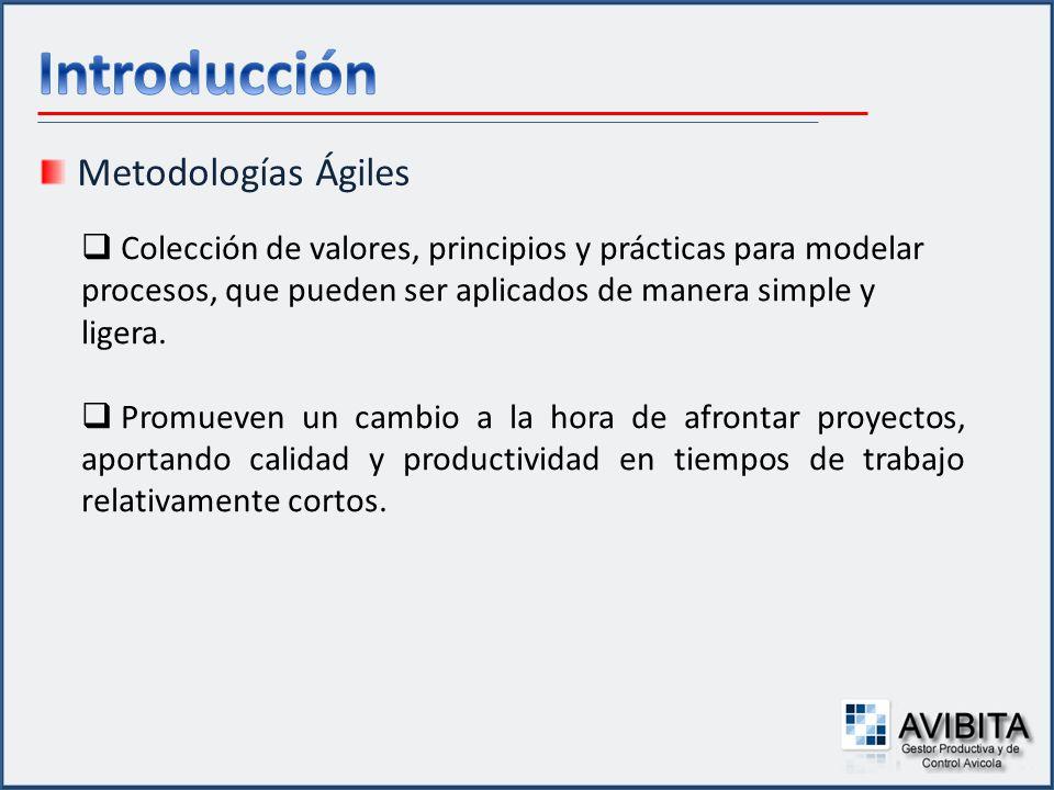 Metodologías Ágiles Colección de valores, principios y prácticas para modelar procesos, que pueden ser aplicados de manera simple y ligera. Promueven