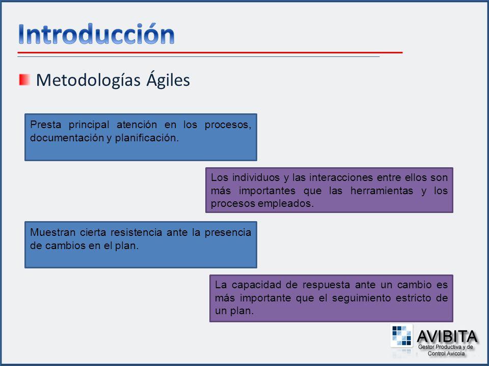 Metodologías Ágiles Presta principal atención en los procesos, documentación y planificación. Los individuos y las interacciones entre ellos son más i