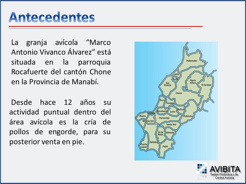 La granja avícola Marco Antonio Vivanco Álvarez está situada en la parroquia Rocafuerte del cantón Chone en la Provincia de Manabí. Desde hace 12 años