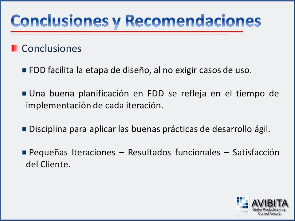 Conclusiones FDD facilita la etapa de diseño, al no exigir casos de uso. Una buena planificación en FDD se refleja en el tiempo de implementación de c