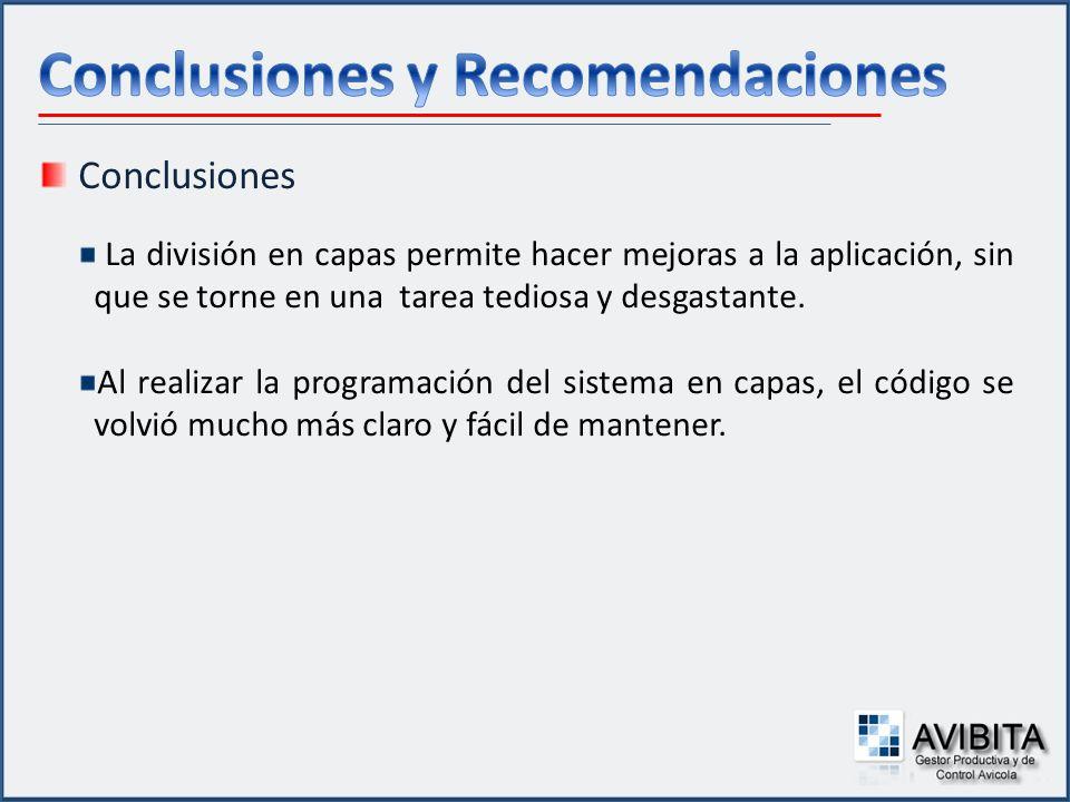 Conclusiones La división en capas permite hacer mejoras a la aplicación, sin que se torne en una tarea tediosa y desgastante. Al realizar la programac