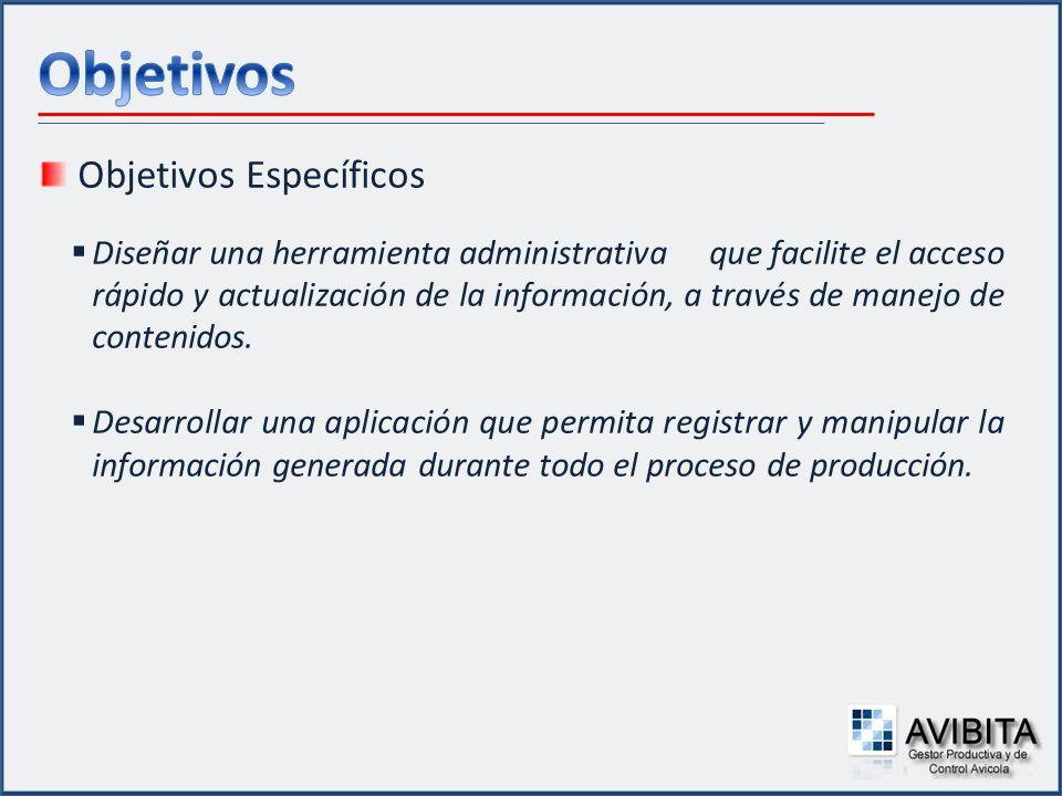 Objetivos Específicos Proporcionar una herramienta que facilite la generación de reportes en los diferentes aspectos de la producción.