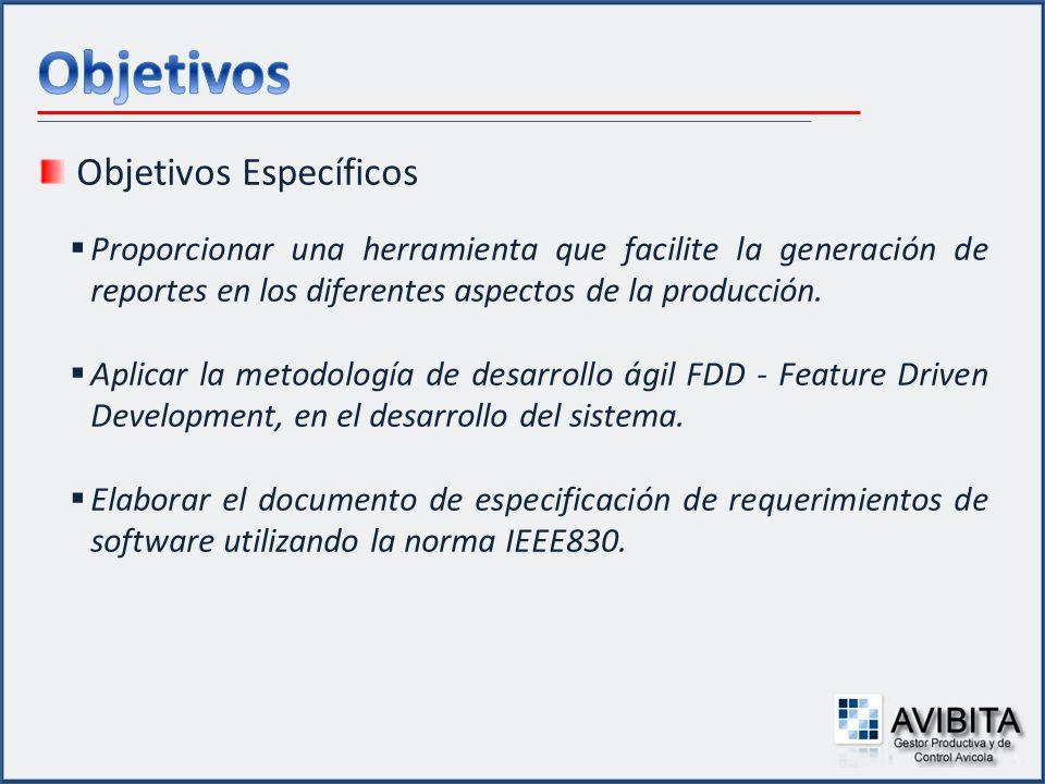 Objetivos Específicos Proporcionar una herramienta que facilite la generación de reportes en los diferentes aspectos de la producción. Aplicar la meto