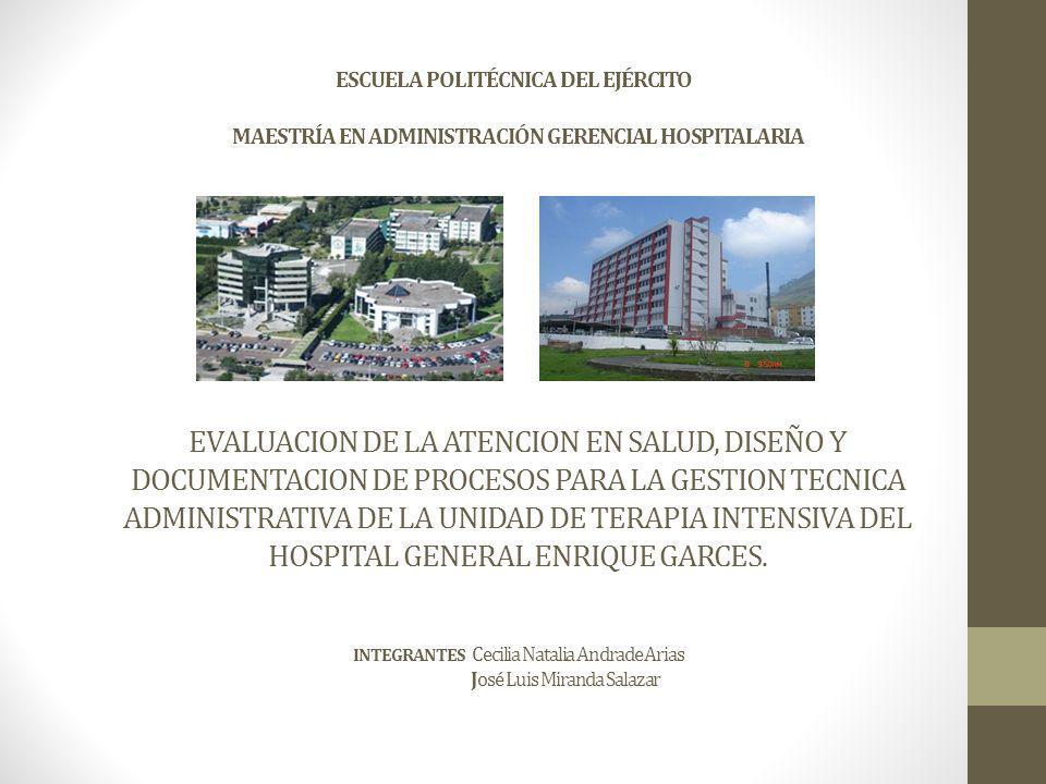 ESCUELA POLITÉCNICA DEL EJÉRCITO MAESTRÍA EN ADMINISTRACIÓN GERENCIAL HOSPITALARIA EVALUACION DE LA ATENCION EN SALUD, DISEÑO Y DOCUMENTACION DE PROCESOS PARA LA GESTION TECNICA ADMINISTRATIVA DE LA UNIDAD DE TERAPIA INTENSIVA DEL HOSPITAL GENERAL ENRIQUE GARCES.