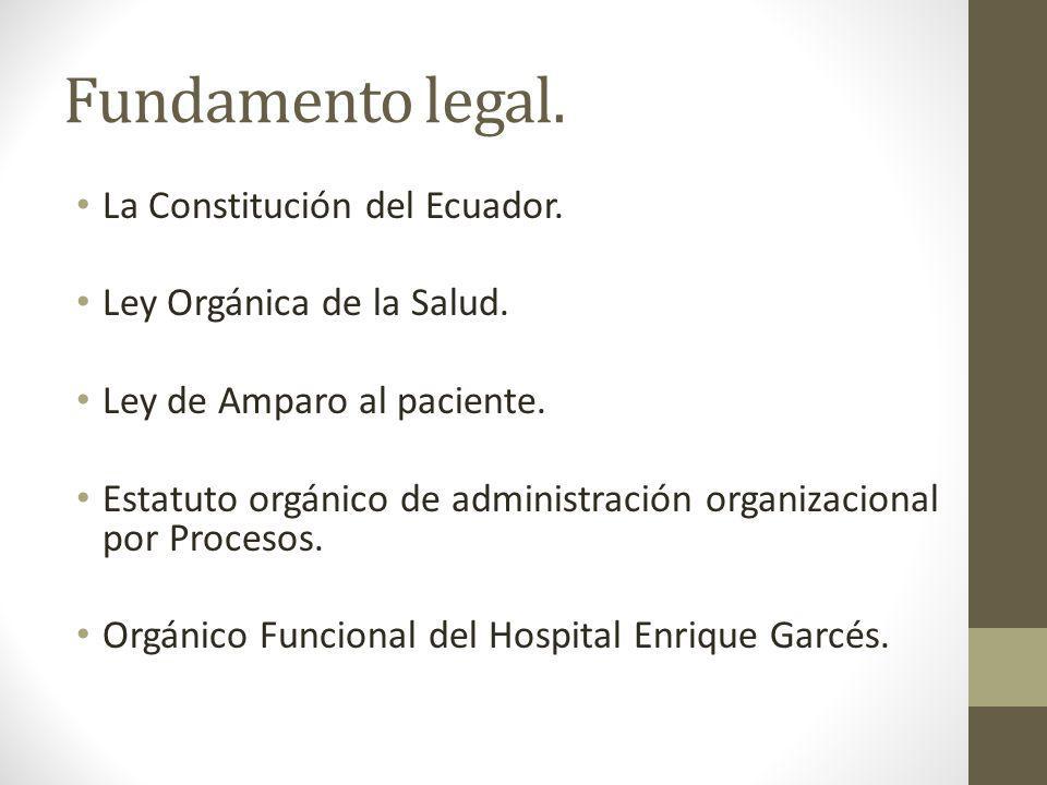 Fundamento legal. La Constitución del Ecuador. Ley Orgánica de la Salud. Ley de Amparo al paciente. Estatuto orgánico de administración organizacional