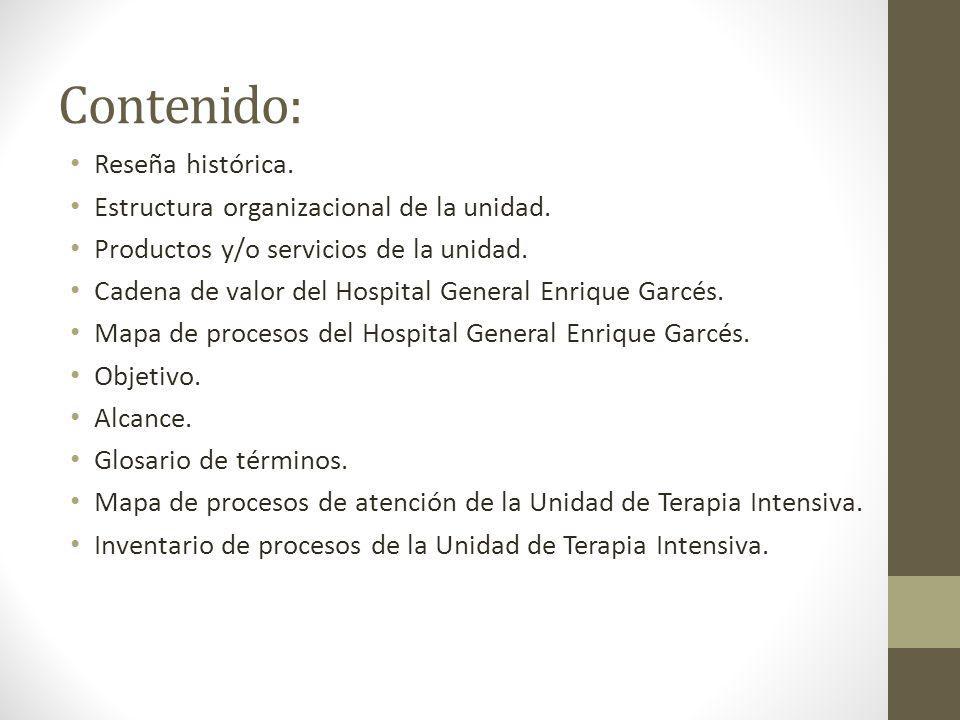Contenido: Reseña histórica. Estructura organizacional de la unidad. Productos y/o servicios de la unidad. Cadena de valor del Hospital General Enriqu