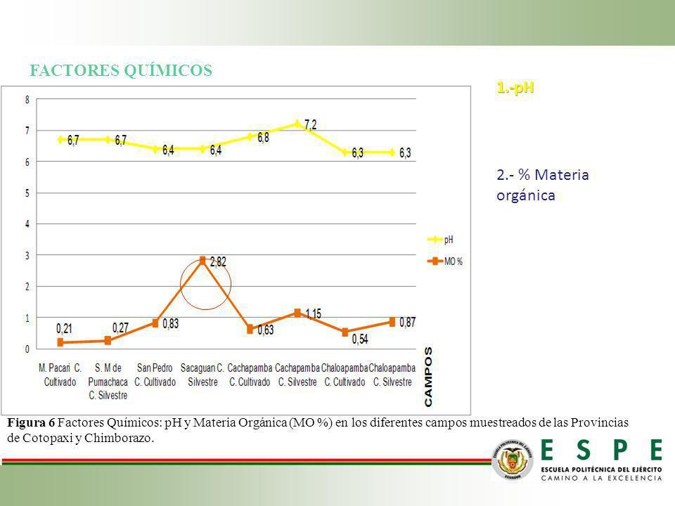 FACTORES QUÍMICOS 1.-pH 2.- % Materia orgánica Figura 6 Factores Químicos: pH y Materia Orgánica (MO %) en los diferentes campos muestreados de las Pr