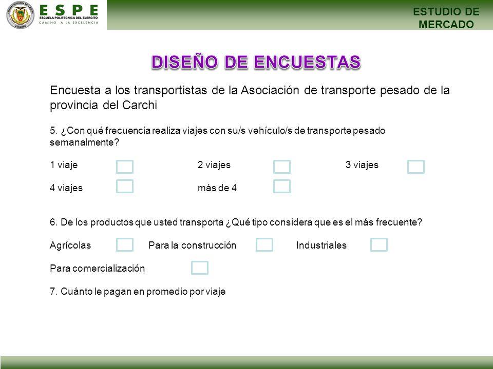 ESTUDIO DE MERCADO Encuesta a los transportistas de la Asociación de transporte pesado de la provincia del Carchi 5. ¿Con qué frecuencia realiza viaje