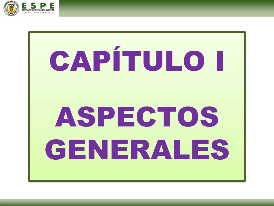 CAPÍTULO I ASPECTOS GENERALES CAPÍTULO I ASPECTOS GENERALES
