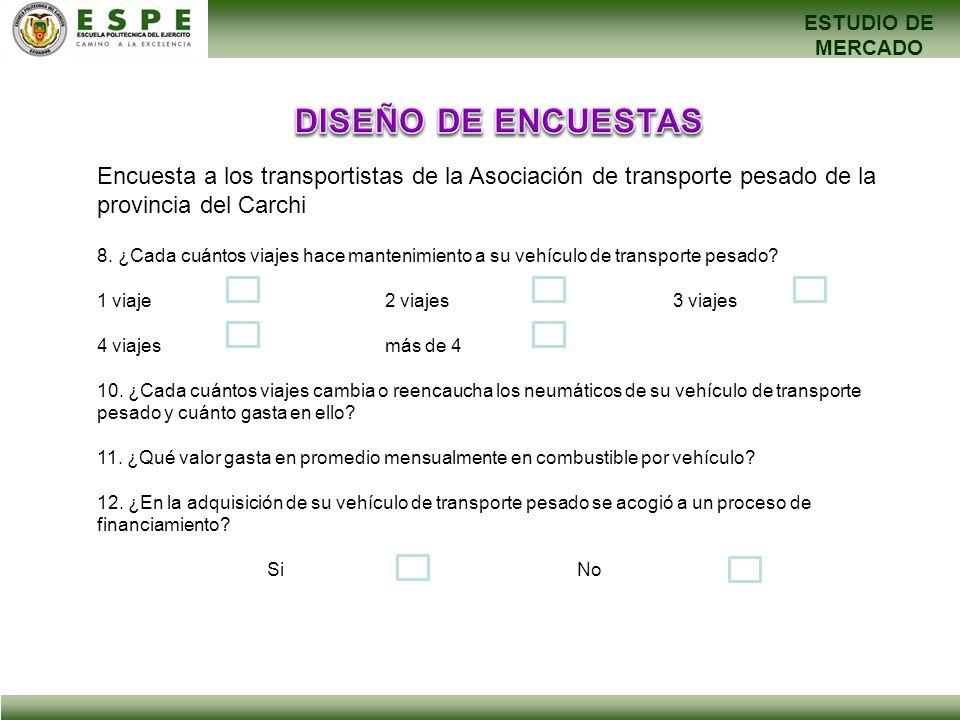 ESTUDIO DE MERCADO Encuesta a los transportistas de la Asociación de transporte pesado de la provincia del Carchi 8. ¿Cada cuántos viajes hace manteni