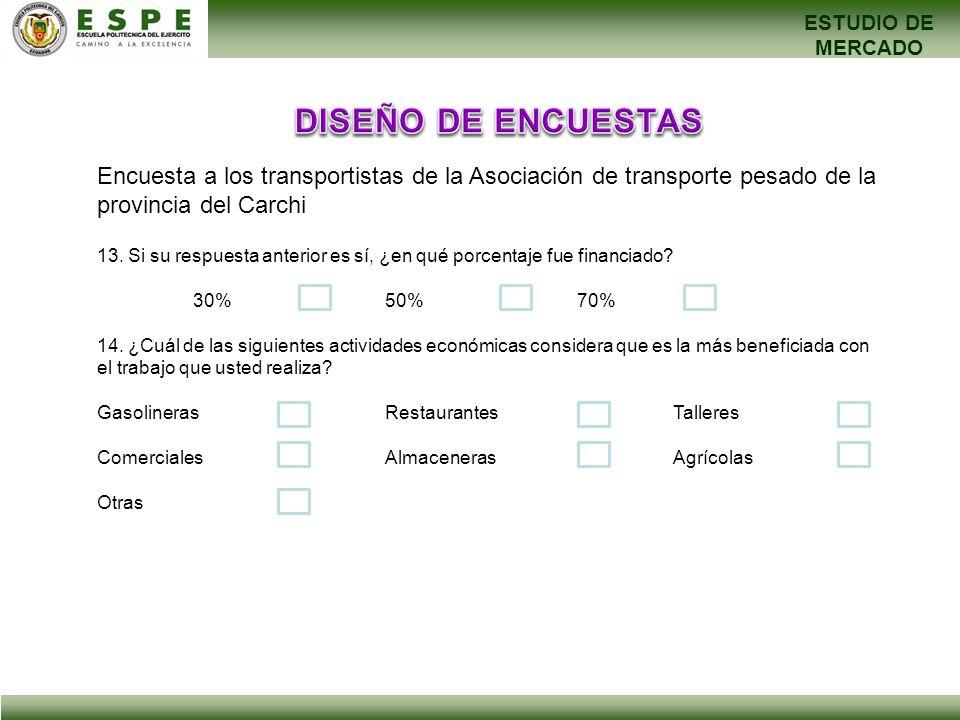ESTUDIO DE MERCADO Encuesta a los transportistas de la Asociación de transporte pesado de la provincia del Carchi 13. Si su respuesta anterior es sí,