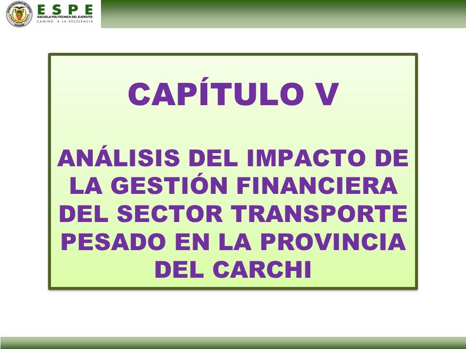 CAPÍTULO V ANÁLISIS DEL IMPACTO DE LA GESTIÓN FINANCIERA DEL SECTOR TRANSPORTE PESADO EN LA PROVINCIA DEL CARCHI CAPÍTULO V ANÁLISIS DEL IMPACTO DE LA