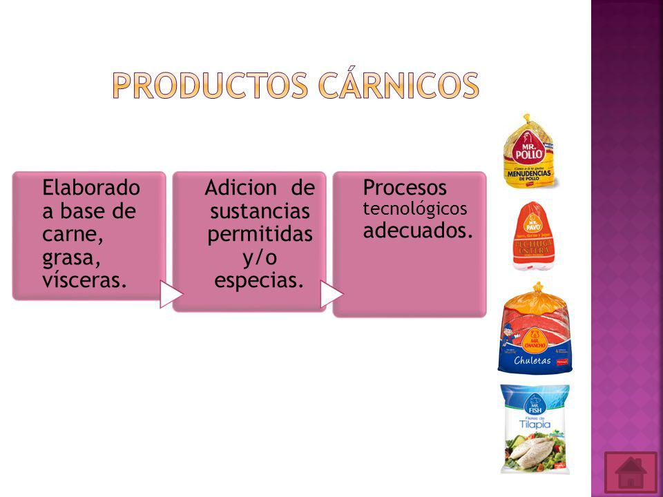 Elaborado a base de carne, grasa, vísceras.Adicion de sustancias permitidas y/o especias.