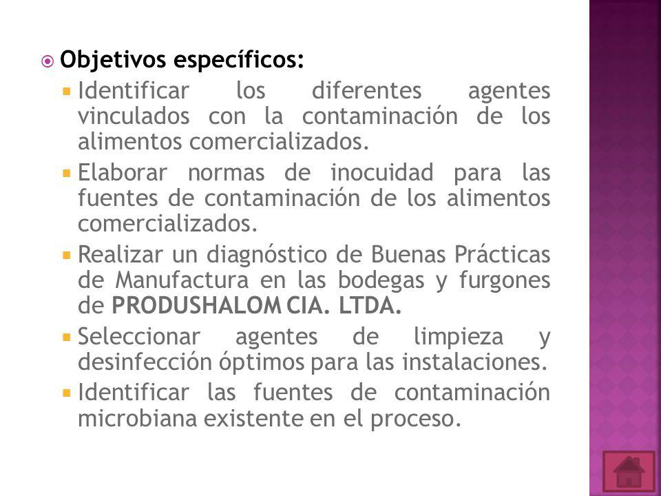 Objetivos específicos: Identificar los diferentes agentes vinculados con la contaminación de los alimentos comercializados.