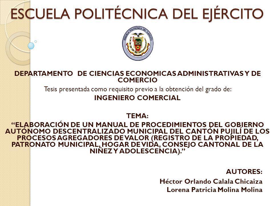 ESCUELA POLITÉCNICA DEL EJÉRCITO DEPARTAMENTO DE CIENCIAS ECONOMICAS ADMINISTRATIVAS Y DE COMERCIO Tesis presentada como requisito previo a la obtenci