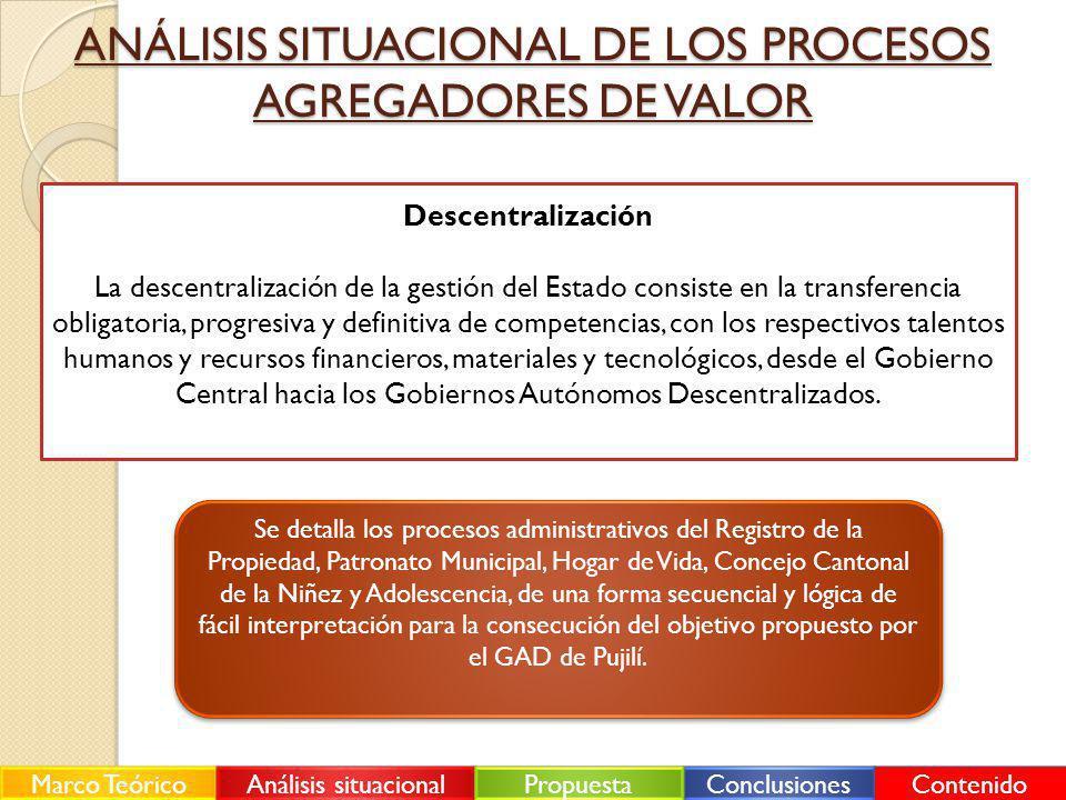 ANÁLISIS SITUACIONAL DE LOS PROCESOS AGREGADORES DE VALOR Descentralización La descentralización de la gestión del Estado consiste en la transferencia