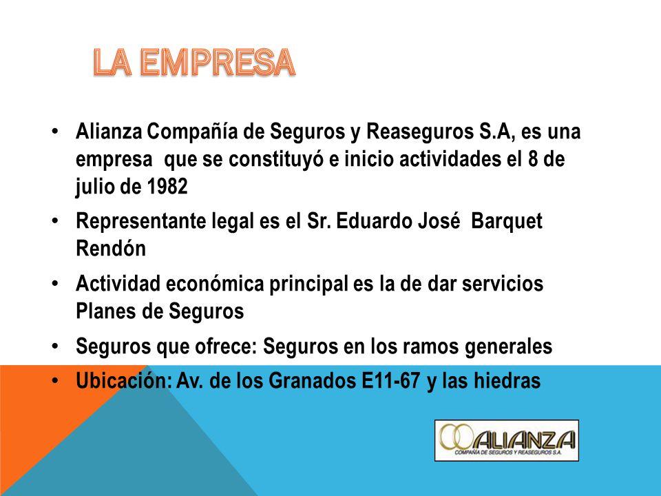 Alianza Compañía de Seguros y Reaseguros S.A, es una empresa que se constituyó e inicio actividades el 8 de julio de 1982 Representante legal es el Sr.