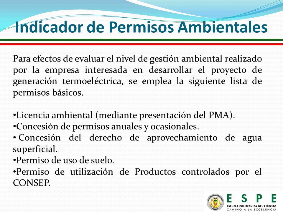Para efectos de evaluar el nivel de gestión ambiental realizado por la empresa interesada en desarrollar el proyecto de generación termoeléctrica, se emplea la siguiente lista de permisos básicos.