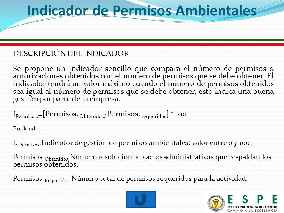 DESCRIPCIÓN DEL INDICADOR Se propone un indicador sencillo que compara el número de permisos o autorizaciones obtenidos con el número de permisos que se debe obtener.