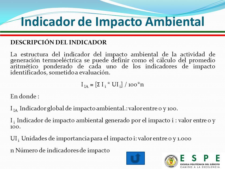 DESCRIPCIÓN DEL INDICADOR La estructura del indicador del impacto ambiental de la actividad de generación termoeléctrica se puede definir como el cálculo del promedio aritmético ponderado de cada uno de los indicadores de impacto identificados, sometido a evaluación.