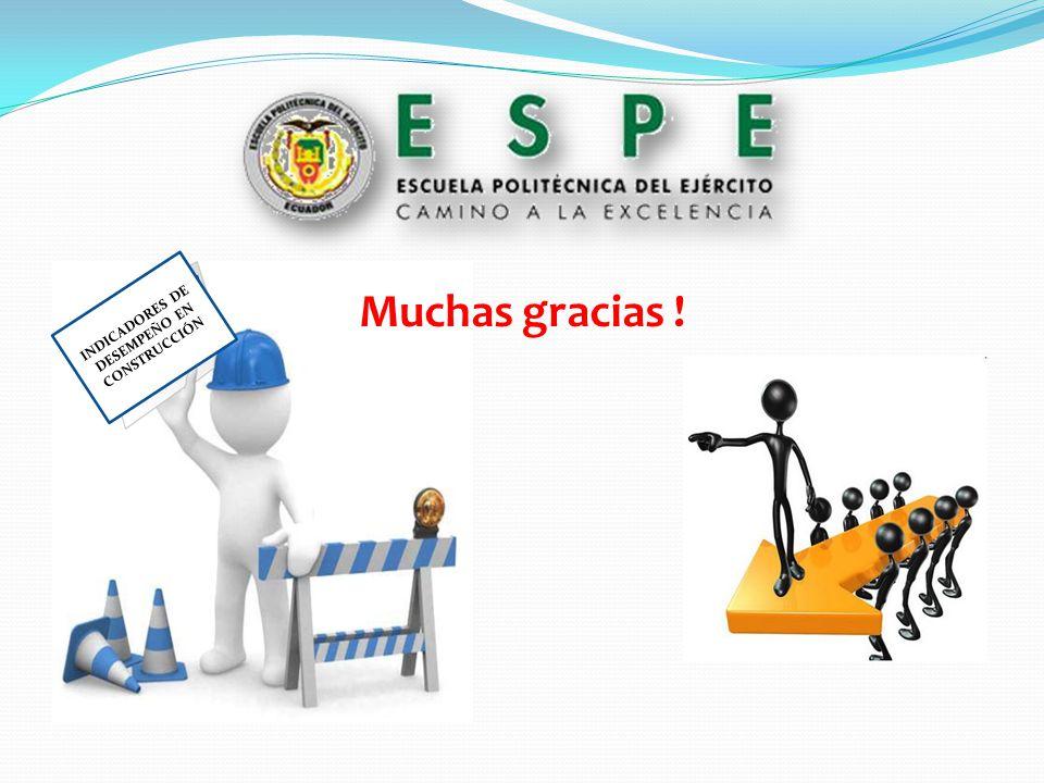 INDICADORES DE DESEMPEÑO EN CONSTRUCCIÓN Muchas gracias !