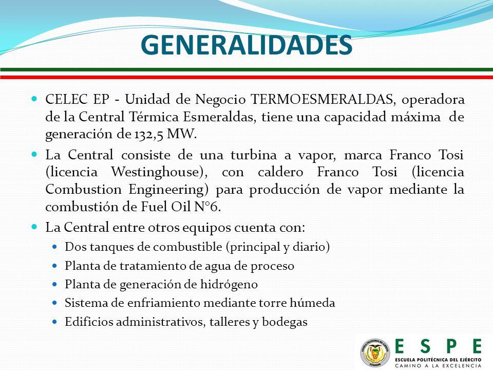 GENERALIDADES CELEC EP - Unidad de Negocio TERMOESMERALDAS, operadora de la Central Térmica Esmeraldas, tiene una capacidad máxima de generación de 132,5 MW.