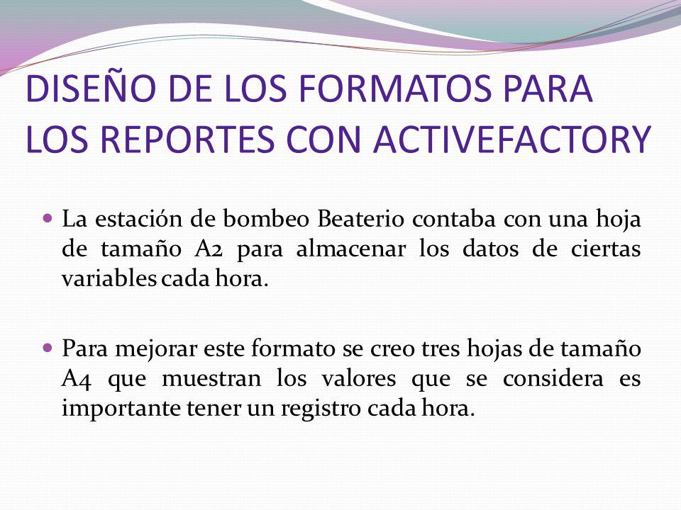 DISEÑO DE LOS FORMATOS PARA LOS REPORTES CON ACTIVEFACTORY La estación de bombeo Beaterio contaba con una hoja de tamaño A2 para almacenar los datos d