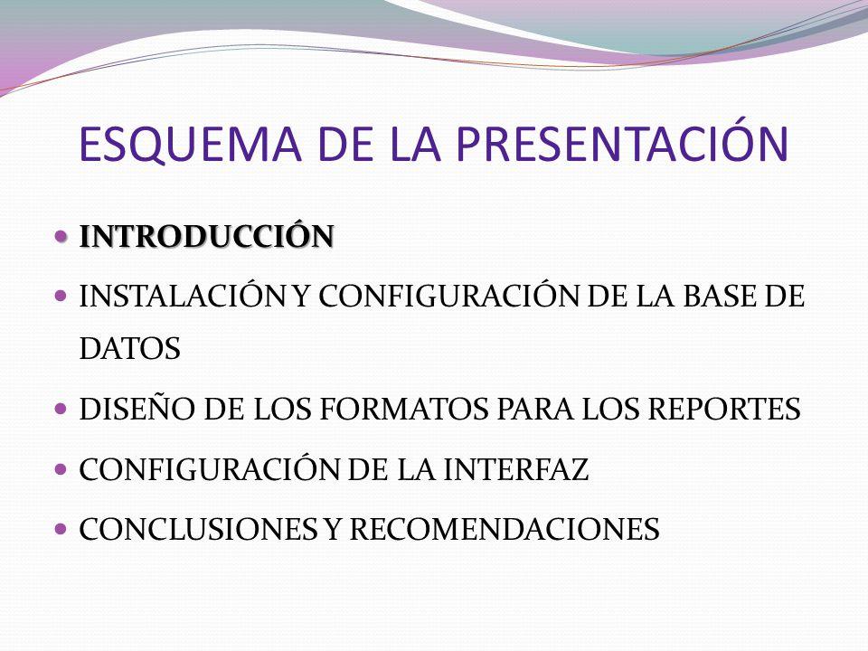 ESQUEMA DE LA PRESENTACIÓN INTRODUCCIÓN INTRODUCCIÓN INSTALACIÓN Y CONFIGURACIÓN DE LA BASE DE DATOS DISEÑO DE LOS FORMATOS PARA LOS REPORTES CONFIGUR
