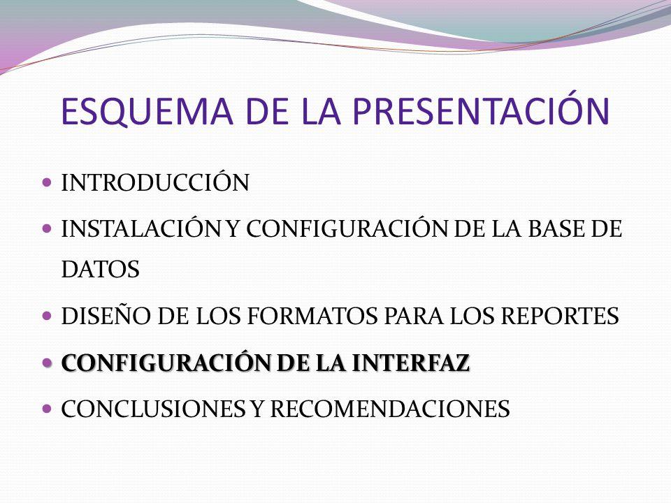 ESQUEMA DE LA PRESENTACIÓN INTRODUCCIÓN INSTALACIÓN Y CONFIGURACIÓN DE LA BASE DE DATOS DISEÑO DE LOS FORMATOS PARA LOS REPORTES CONFIGURACIÓN DE LA I