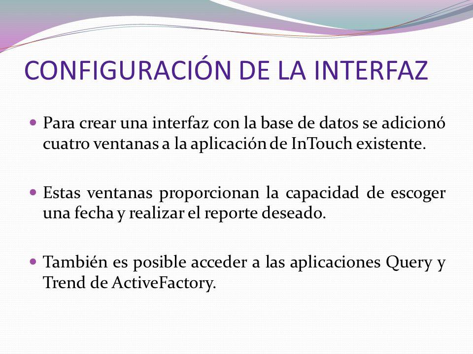 CONFIGURACIÓN DE LA INTERFAZ Para crear una interfaz con la base de datos se adicionó cuatro ventanas a la aplicación de InTouch existente. Estas vent