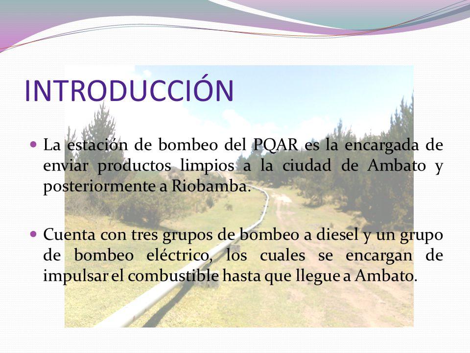 INTRODUCCIÓN La estación de bombeo del PQAR es la encargada de enviar productos limpios a la ciudad de Ambato y posteriormente a Riobamba. Cuenta con