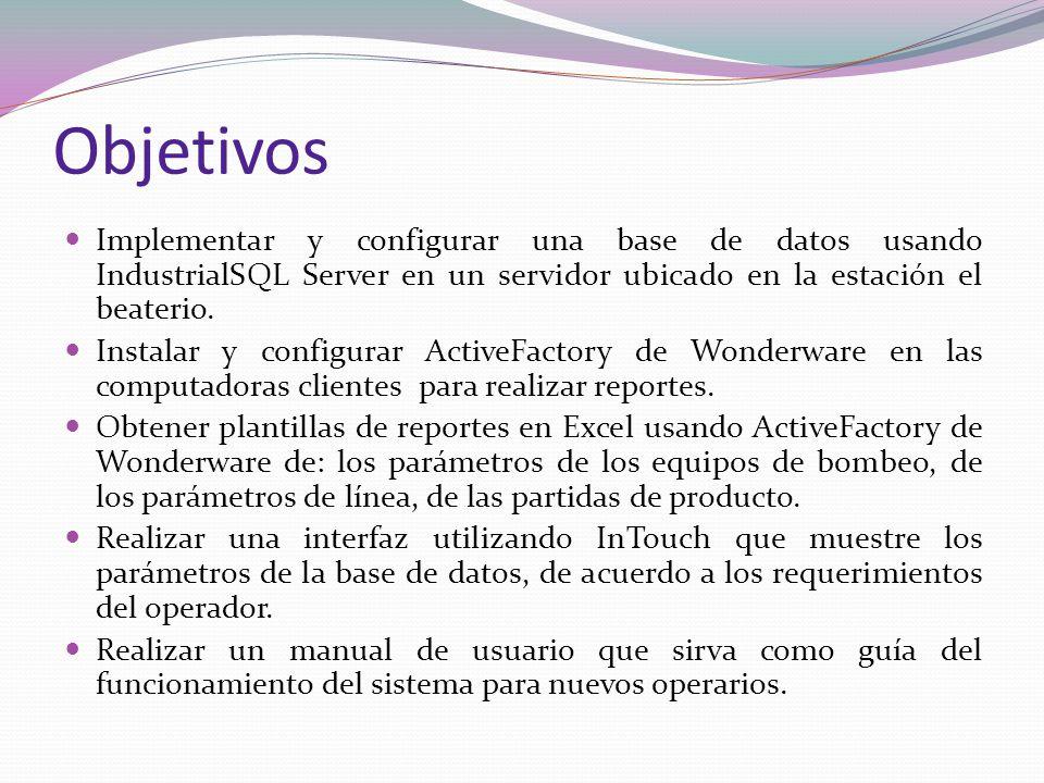 Objetivos Implementar y configurar una base de datos usando IndustrialSQL Server en un servidor ubicado en la estación el beaterio. Instalar y configu