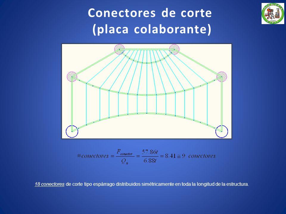 54 conectores de corte tipo espárrago distribuidos simétricamente en toda la longitud de la cercha metálica 1. Conectores de corte (losa maciza)