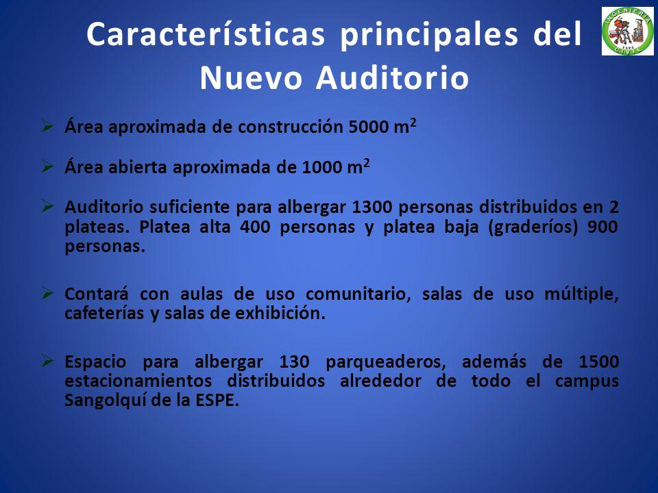 Características principales del Nuevo Auditorio Área aproximada de construcción 5000 m 2 Área abierta aproximada de 1000 m 2 Auditorio suficiente para albergar 1300 personas distribuidos en 2 plateas.