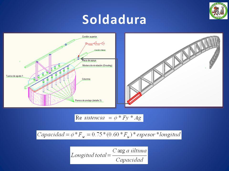 Placa de asiento Dimensiones de la placa de asiento Lado B118.43 [cm] Lado N40.00 [cm] Espesor2.03 [cm] Cálculo de la carga última Cálculo del área de