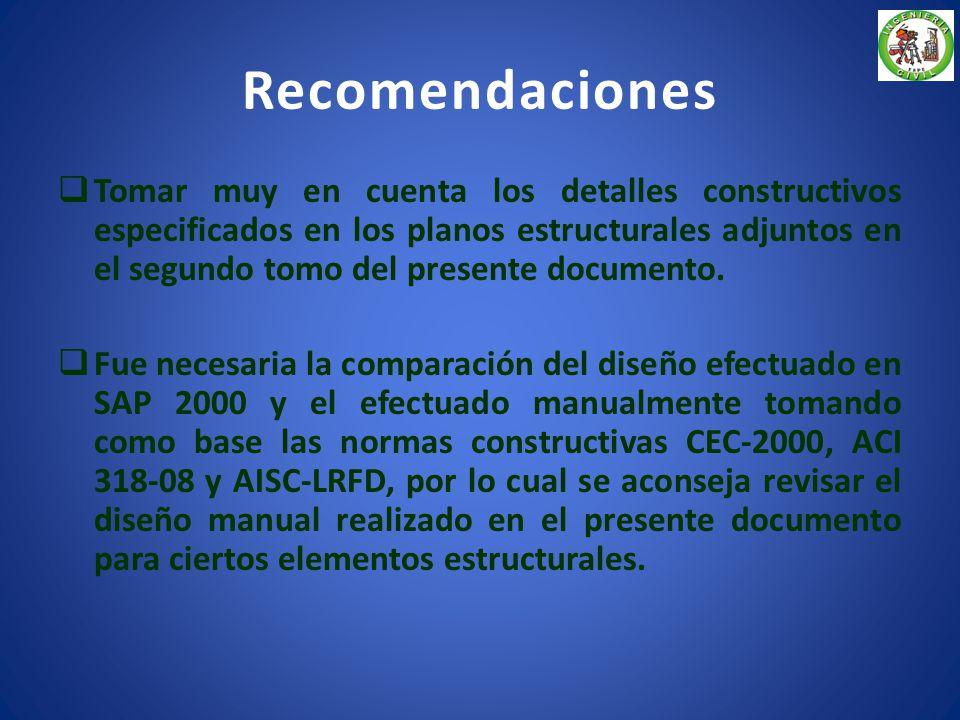 Conclusiones Los valores de carga asumidos para el diseño de elementos en especial las estructuras que forman las cubiertas, toma en cuenta especifica