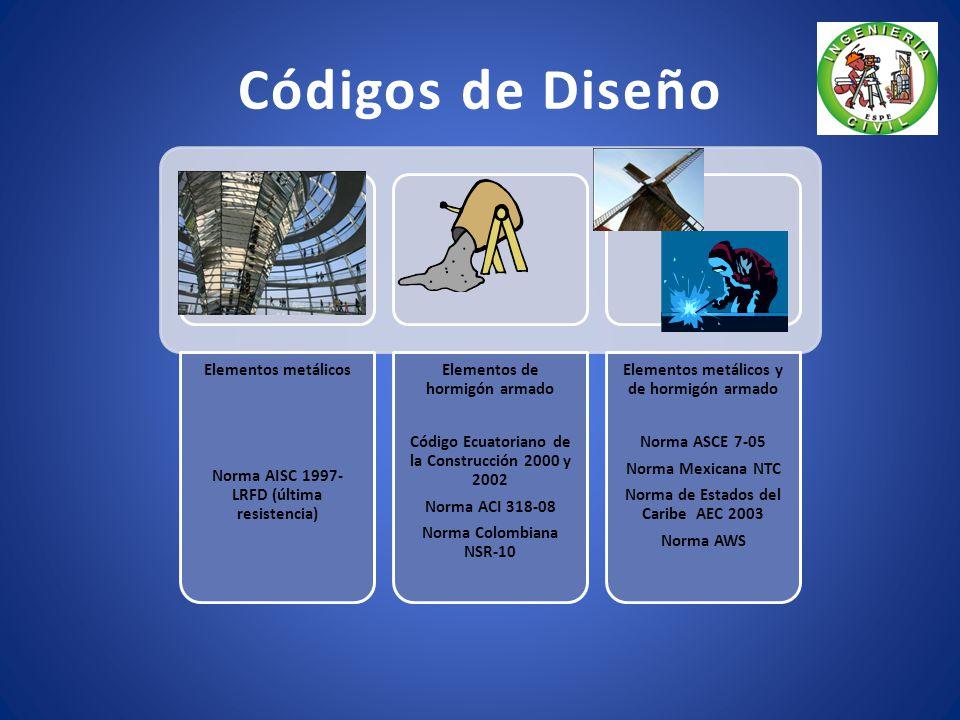 Códigos de Diseño Elementos metálicos Norma AISC 1997- LRFD (última resistencia) Elementos de hormigón armado Código Ecuatoriano de la Construcción 2000 y 2002 Norma ACI 318-08 Norma Colombiana NSR-10 Elementos metálicos y de hormigón armado Norma ASCE 7-05 Norma Mexicana NTC Norma de Estados del Caribe AEC 2003 Norma AWS