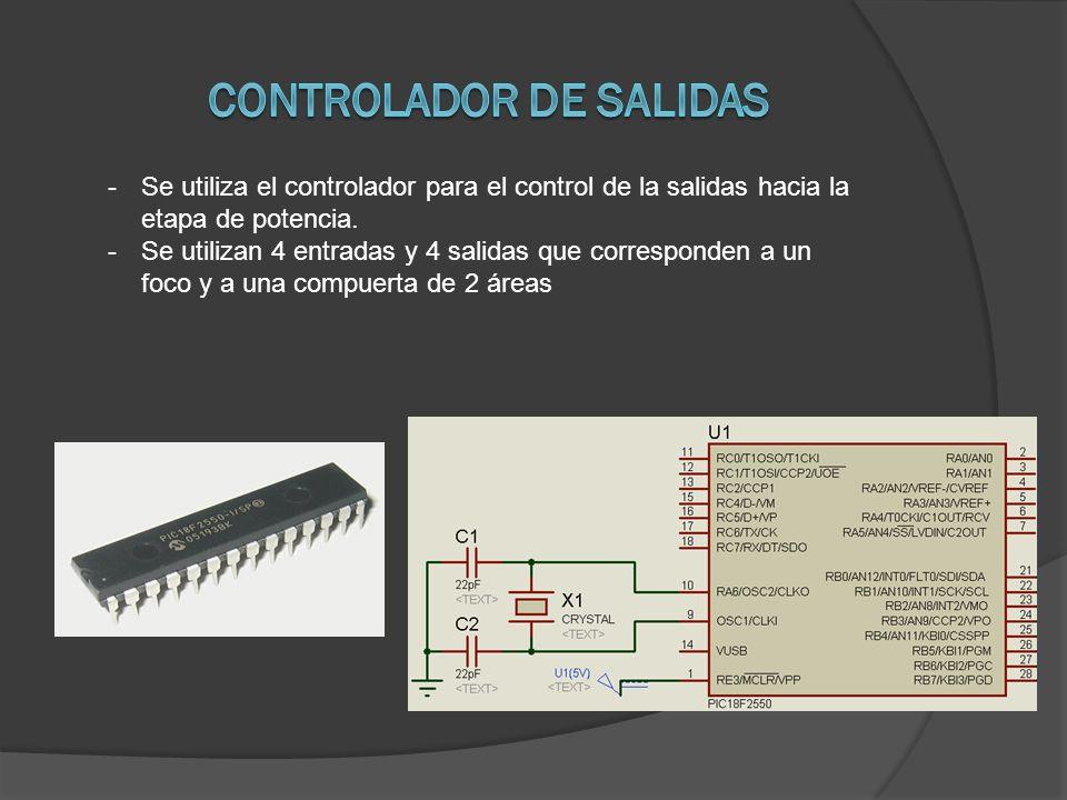 -Se utiliza el controlador para el control de la salidas hacia la etapa de potencia.