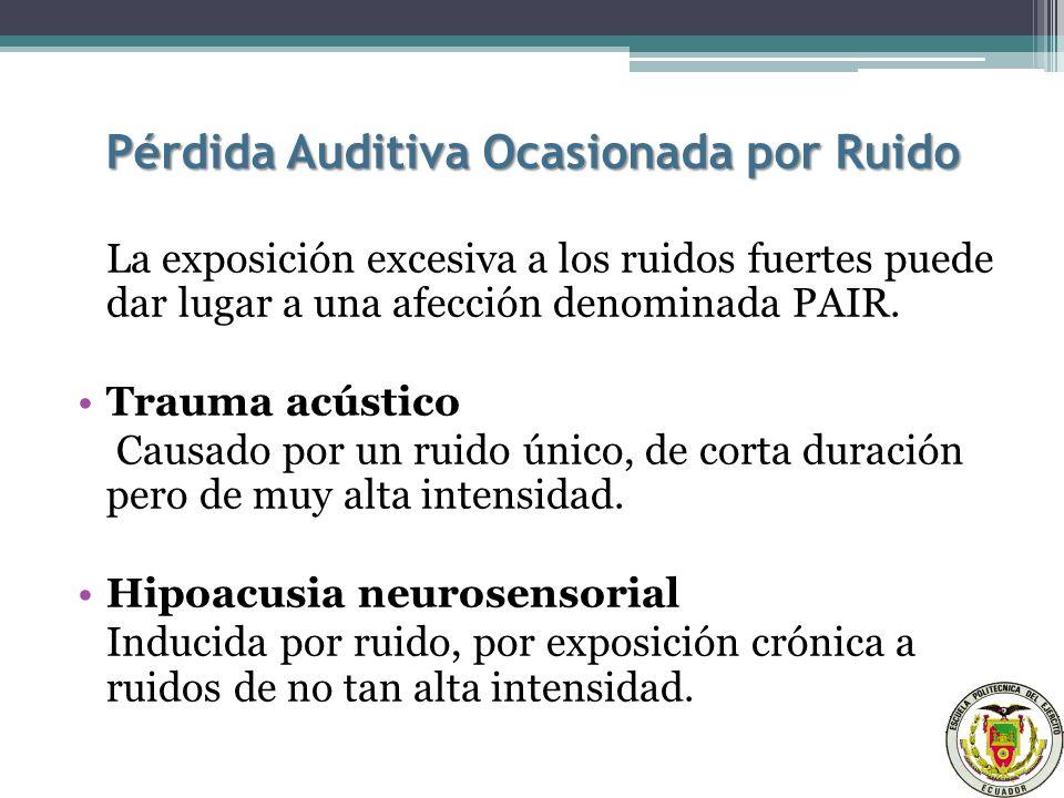 Pérdida Auditiva Ocasionada por Ruido La exposición excesiva a los ruidos fuertes puede dar lugar a una afección denominada PAIR.