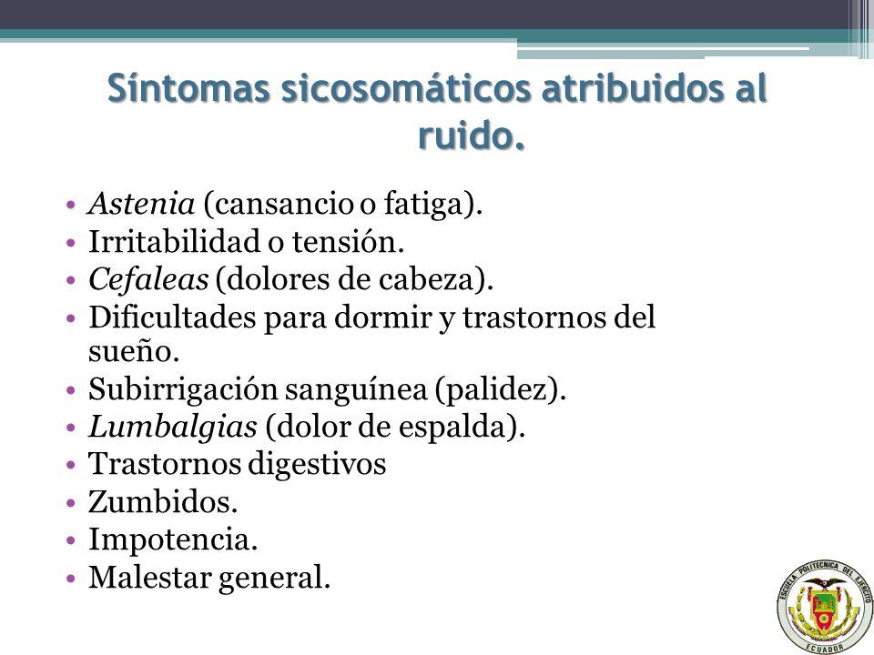 Síntomas sicosomáticos atribuidos al ruido.Astenia (cansancio o fatiga).