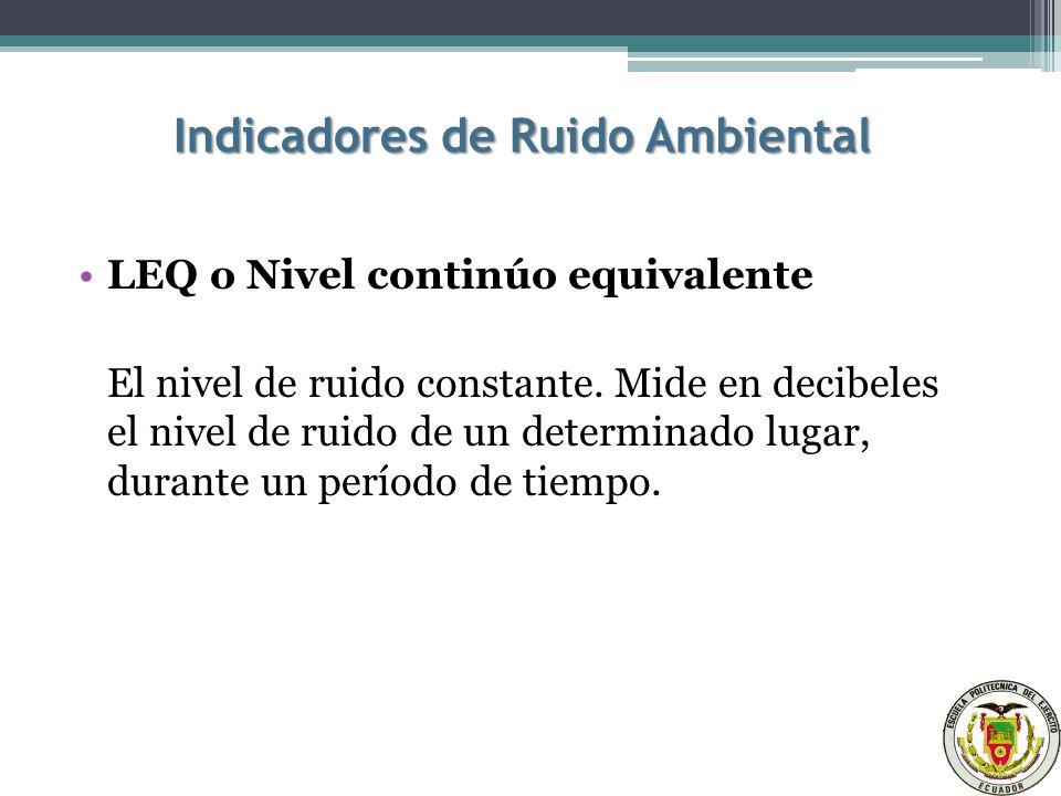 Indicadores de Ruido Ambiental LEQ o Nivel continúo equivalente El nivel de ruido constante.