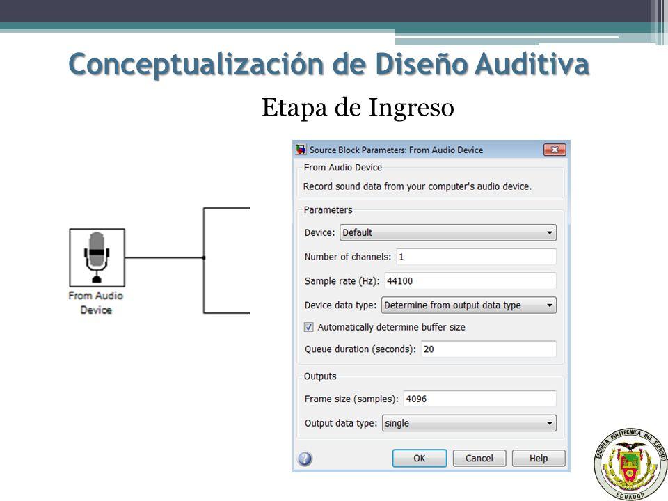 Conceptualización de Diseño Auditiva Etapa de Ingreso