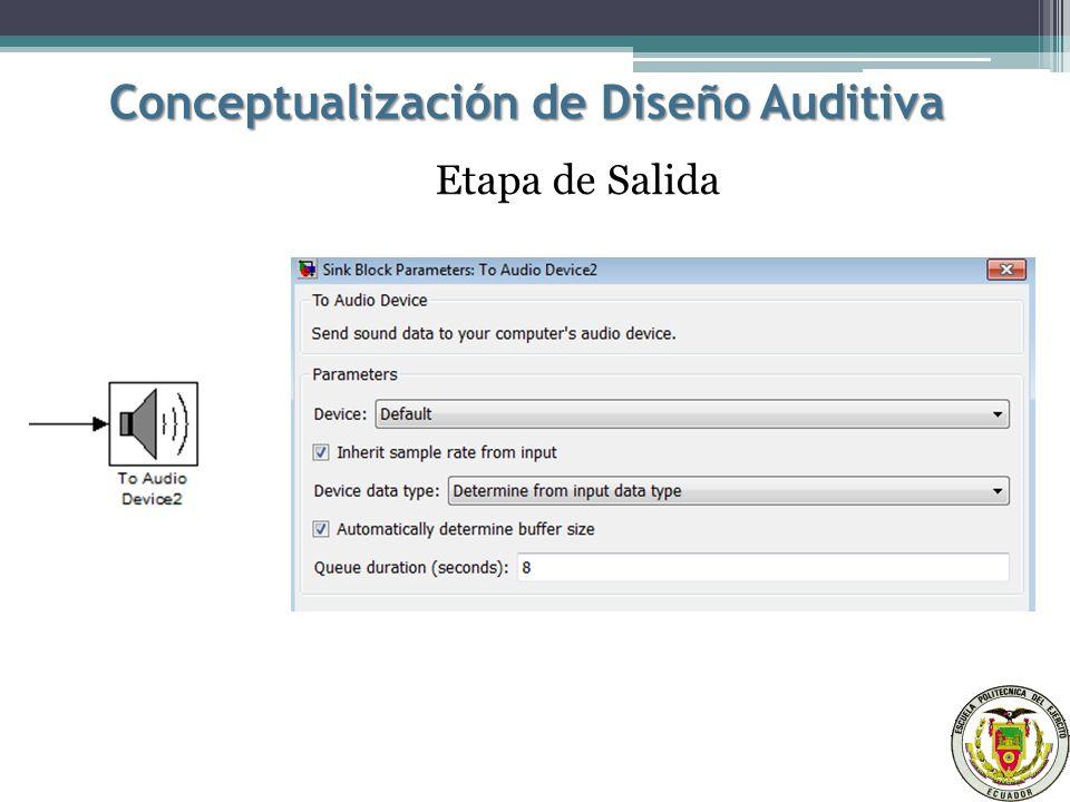Conceptualización de Diseño Auditiva Etapa de Salida