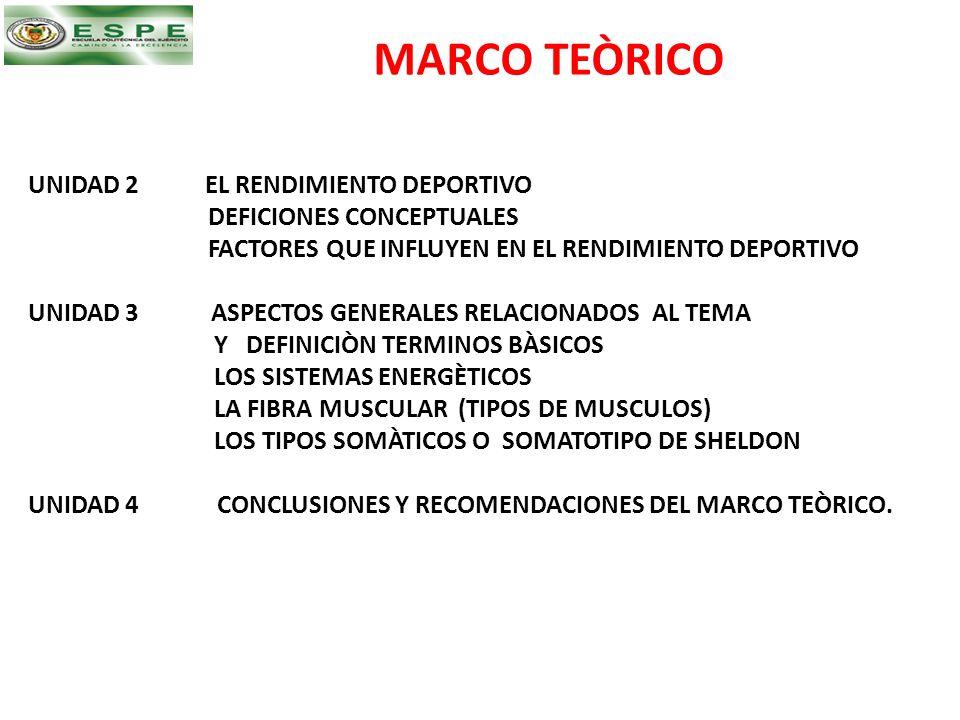 MARCO TEÒRICO UNIDAD 2 EL RENDIMIENTO DEPORTIVO DEFICIONES CONCEPTUALES FACTORES QUE INFLUYEN EN EL RENDIMIENTO DEPORTIVO UNIDAD 3 ASPECTOS GENERALES