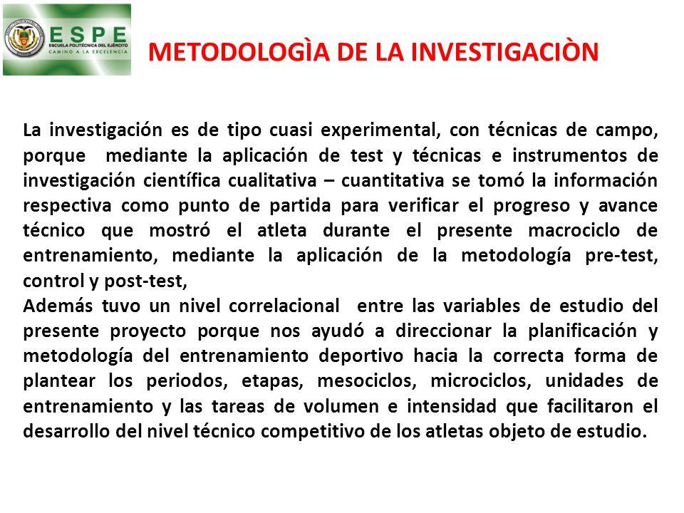METODOLOGÌA DE LA INVESTIGACIÒN La investigación es de tipo cuasi experimental, con técnicas de campo, porque mediante la aplicación de test y técnica