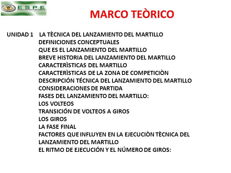 MARCO TEÒRICO UNIDAD 1 LA TÈCNICA DEL LANZAMIENTO DEL MARTILLO DEFINICIONES CONCEPTUALES QUE ES EL LANZAMIENTO DEL MARTILLO BREVE HISTORIA DEL LANZAMI