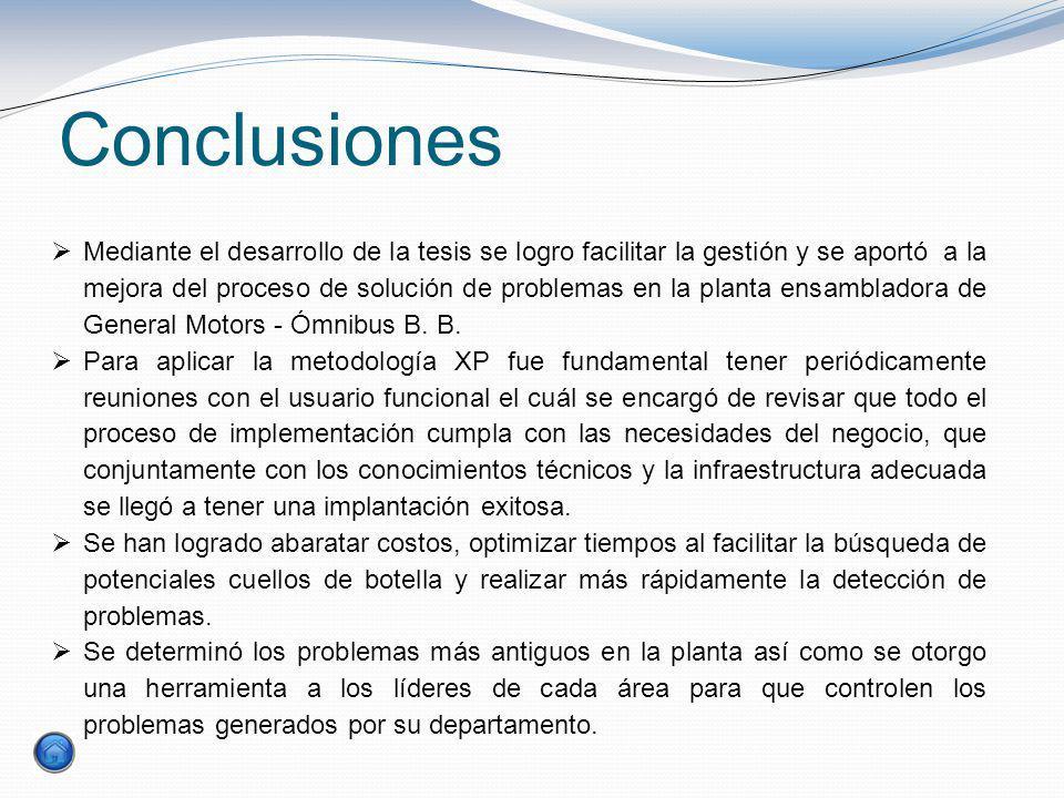 Conclusiones Mediante el desarrollo de la tesis se logro facilitar la gestión y se aportó a la mejora del proceso de solución de problemas en la plant